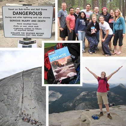 Collage of images including a danger sign, yosemite handbook, and triumphant climber.