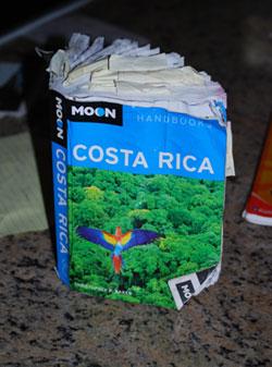 A rain-soaked Moon Costa Rica Handbook dries out.