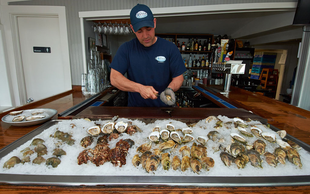 Fresh oysters and quahogs (far left) at Matunuck Oyster Bar in South Kingstown, RI.