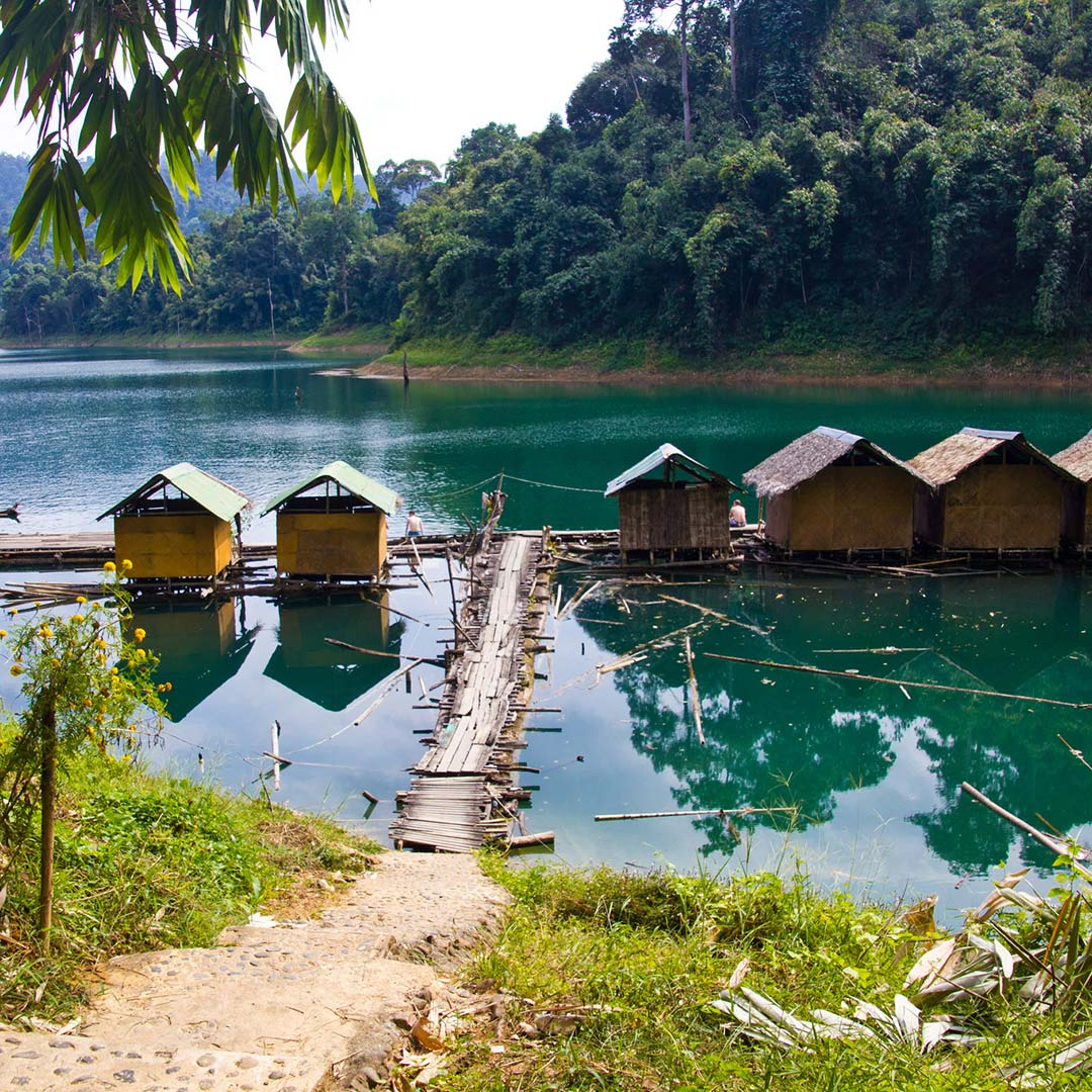 Cabins on the water at Khao Sok National Park.