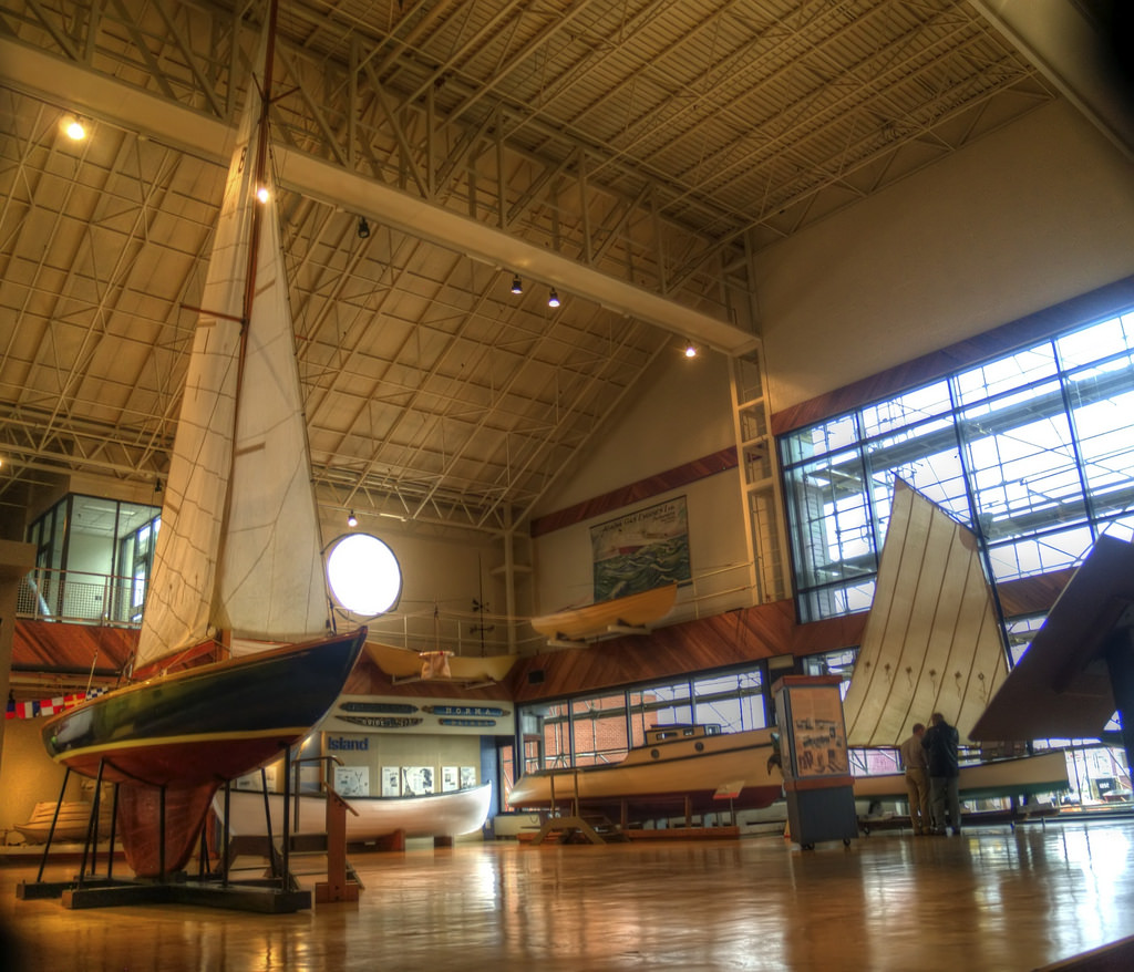 Boats on display inside the Marine Museum of the Atlantic in Halifax.