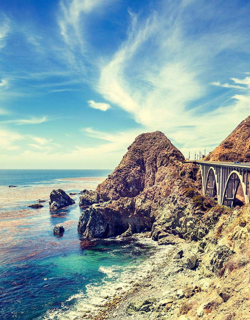 The famous Bixby Bridge in Big Sur, along the Pacific Coast Highway.