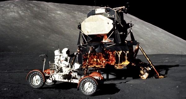Apollo 17 Gene Cernan in Lunar Roving Vehicle Moon