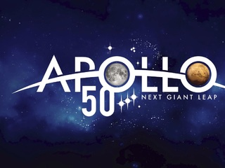 Logo for NASA's Apollo 50th celebration featuring the Moon and Mars