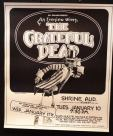 One of three rare Grateful Dead posters from January 1977 – Stockton Civic Auditorium, Bakersfield Civic Auditorium, and the Shrine Auditorium in LA.