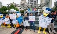June 29, 2016 Union Square, San Francisco, CA Duck à L'Orange Political Demonstration photograph by Bob Minkin