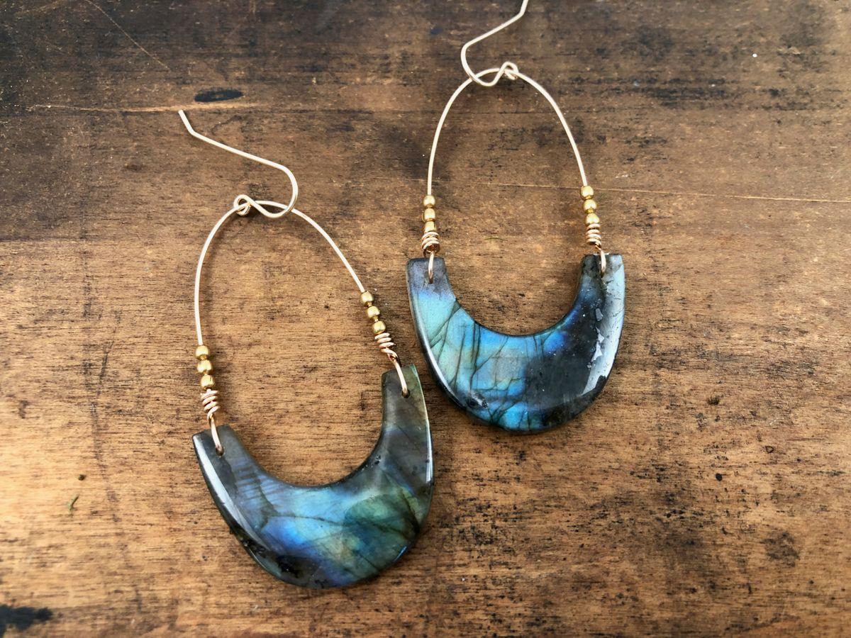 labradorite crescent earrings