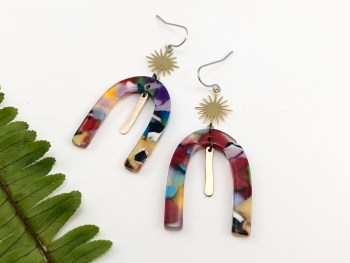 Rainbow Resin Earrings