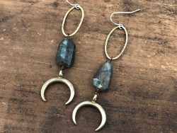 Labradorite Moon Earrings