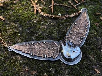 Boulder opal fern necklace