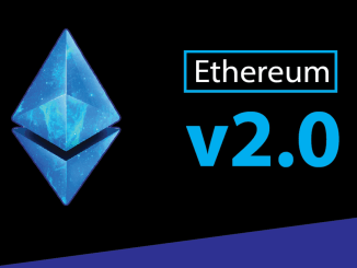 Picture of an ethereum logo with Ethereum v2.0 written next to it