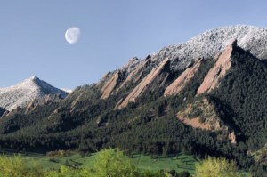"""""""Spring-Flatirons-Moonset"""", view from Boulder, Colorado"""