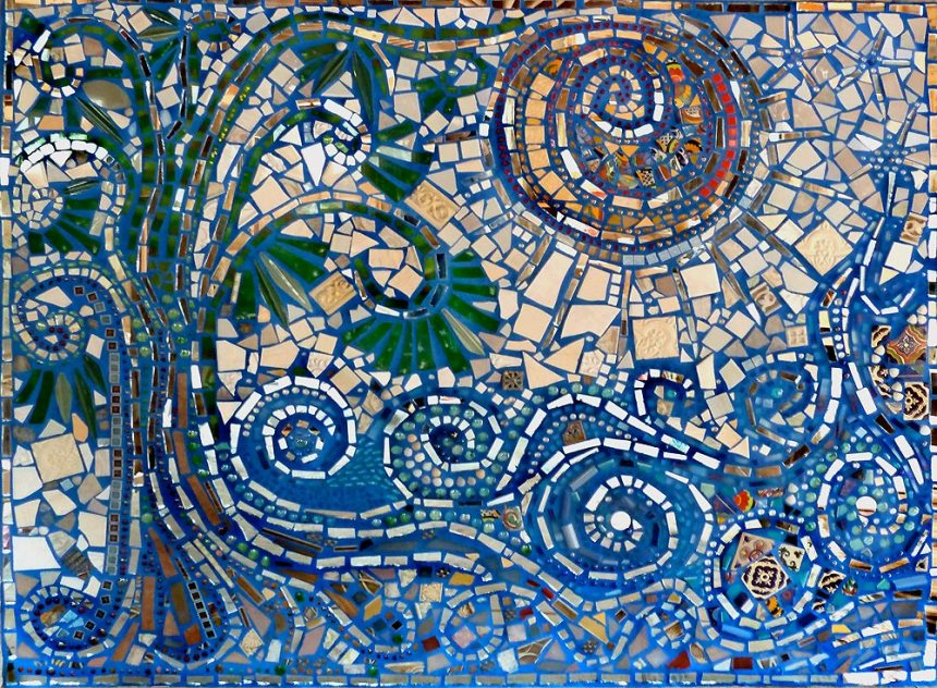 mosaic mural titled Flow with sun tree water
