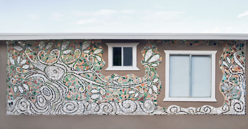 photo of a White Spirit Tree Mosaic Mural