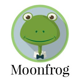 Logo Moonfrog. Kikker met vlinderdas. Illustratie Eelco Bruinsma