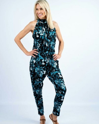 Jumpsuit Black and Turquoise