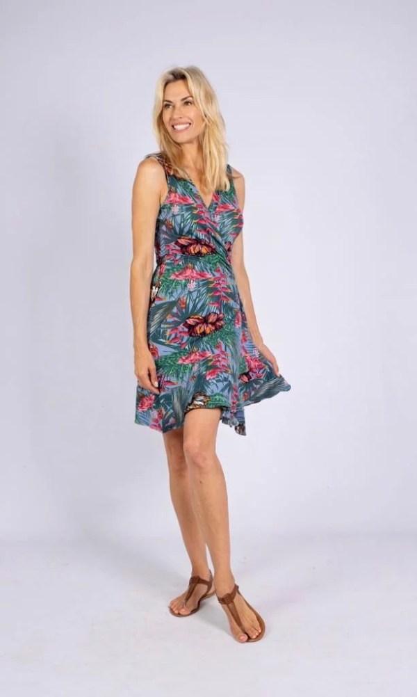Green Botanical Wrap dress.