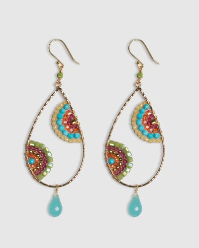 Crescent Earrings in Coral and Turquoise
