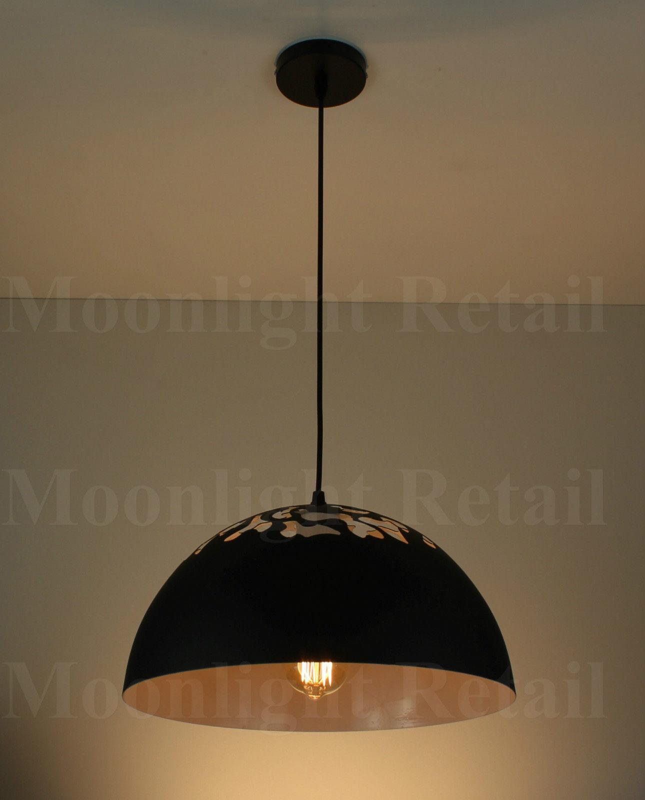 Vintage Industrial Metal Black Cut Out Shade Cafe Loft Pendant Light Lamp Shade Moonlight Retail