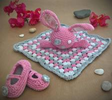 Baby pink bunny lovey blanket and Mary-Jane shoes.