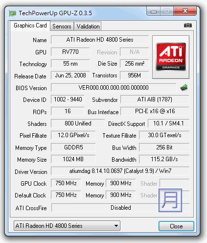 顯示卡溫度監控軟體 GPU-Z v0.6.0