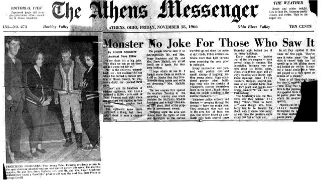 News clip of the Scarberry and Mallette couples shortly after the incident in 1966. from the archives of the Athens Messenger.