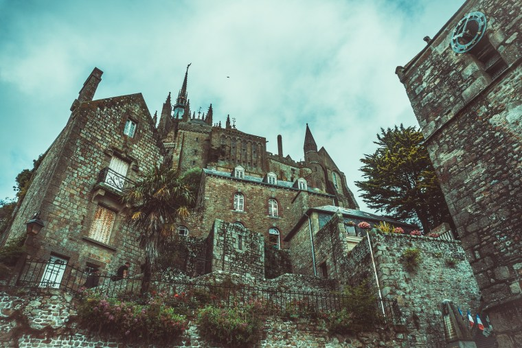 Old gothic mansion castle with dim colors