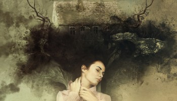 Sleeping woman dreaming amidst a mystic old house with branches coming out