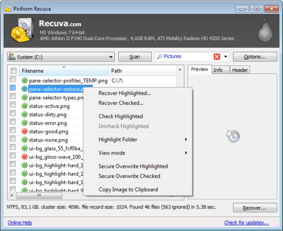 硬碟資料救援軟體 Recuva File Recovery