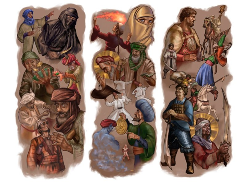 A collage of many middle-eastern fantasy characters, including rogues, djiin, and adventurers.