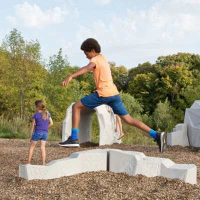 playground concrete forms with kids playing