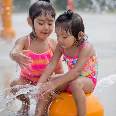 sisters at splash park