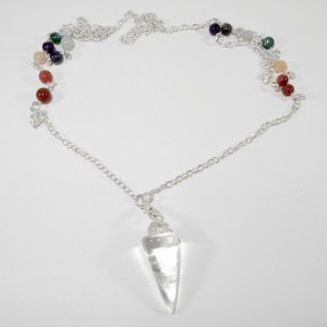 Clear Quartz Pendulum Necklace with Beads