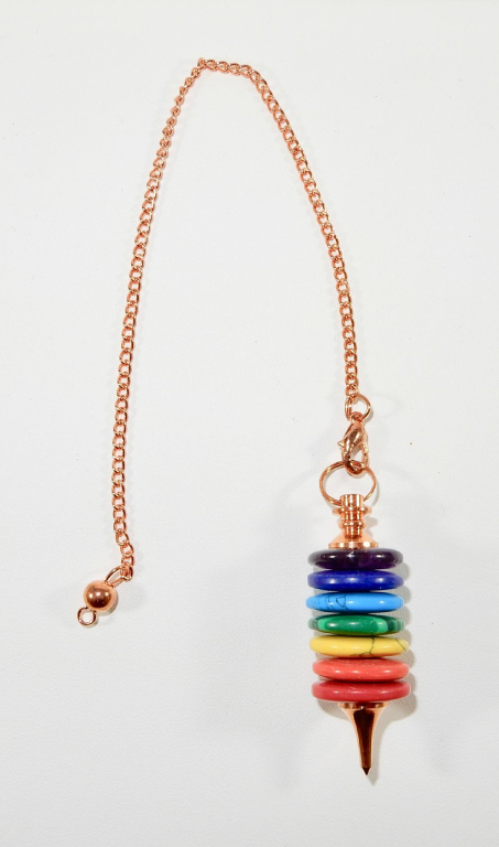 Copper Pendulum with 7 Chakra Rings