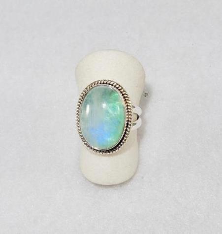 Green Rainbow Moonstone Ring
