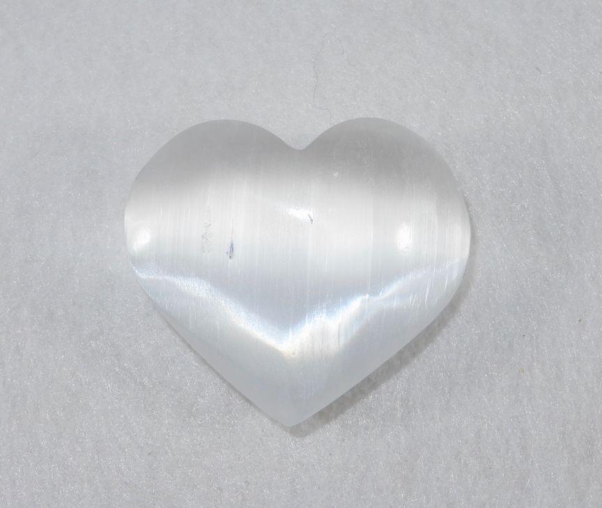 Selenite Puffed Heart