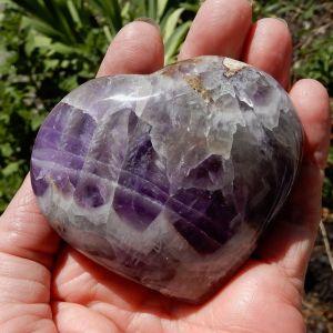Chevron Amethyst Puffed Heart