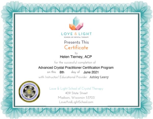 Advanced Crystal Practitioner Certificate - Helen Tierney