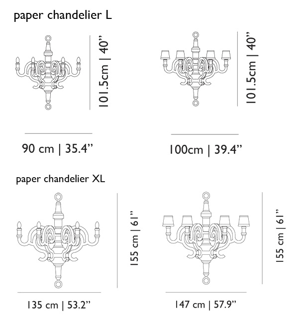 Moooi Paper Chandelier Size Dimensions