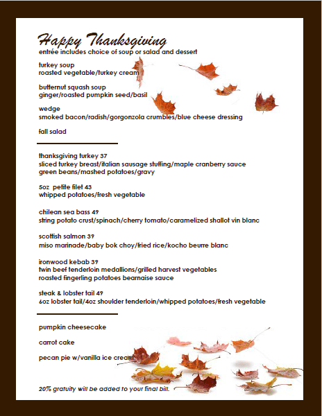 Ironwood Cafe Thanksgiving menu