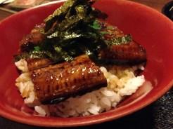 Kaya's favorite fish dish: unagi over steamed rice (unagidon)