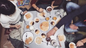 Breakfast for dinner party with some former students