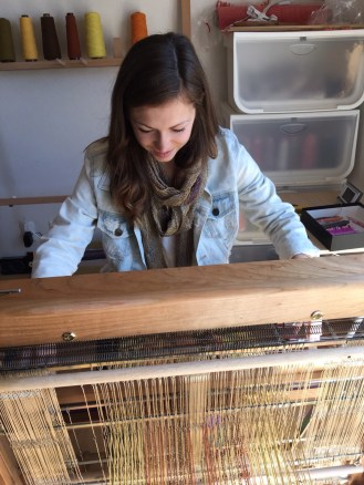 Learning how to use a loom!