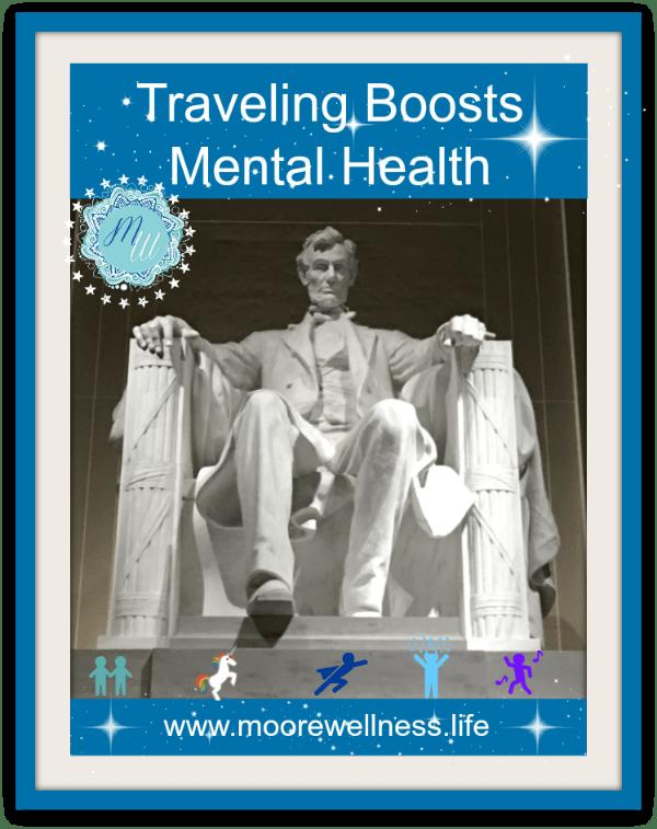 Traveling improves mental health walking up steps at Lincoln Memorial in Washington, D.C.