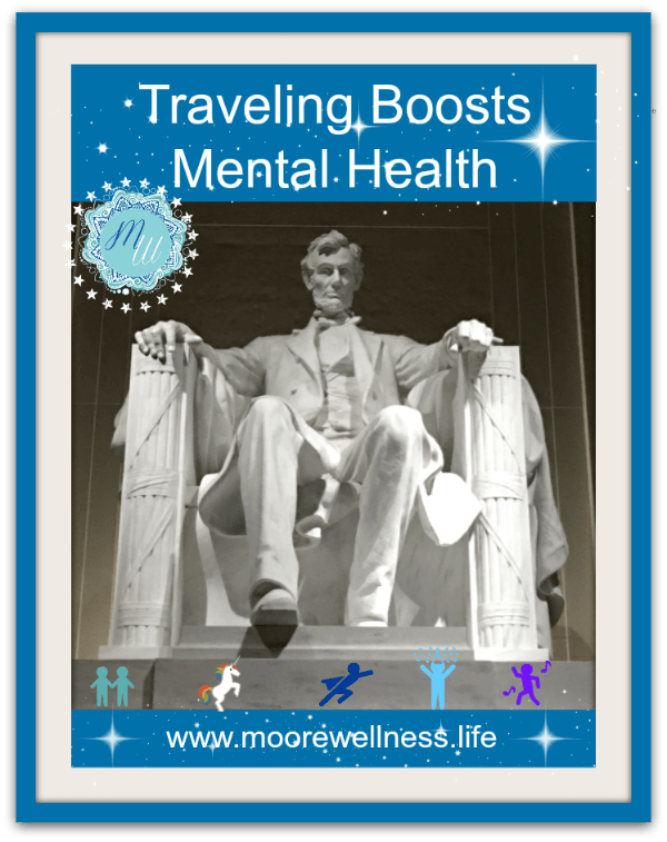 Traveling improves mental health walking up steps at Lincoln Memorial in Washington, D.C.