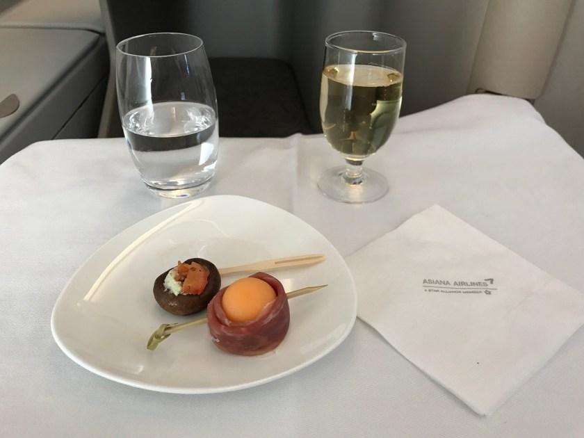 Asiana A380 Business Class Korean Meal Appetizer