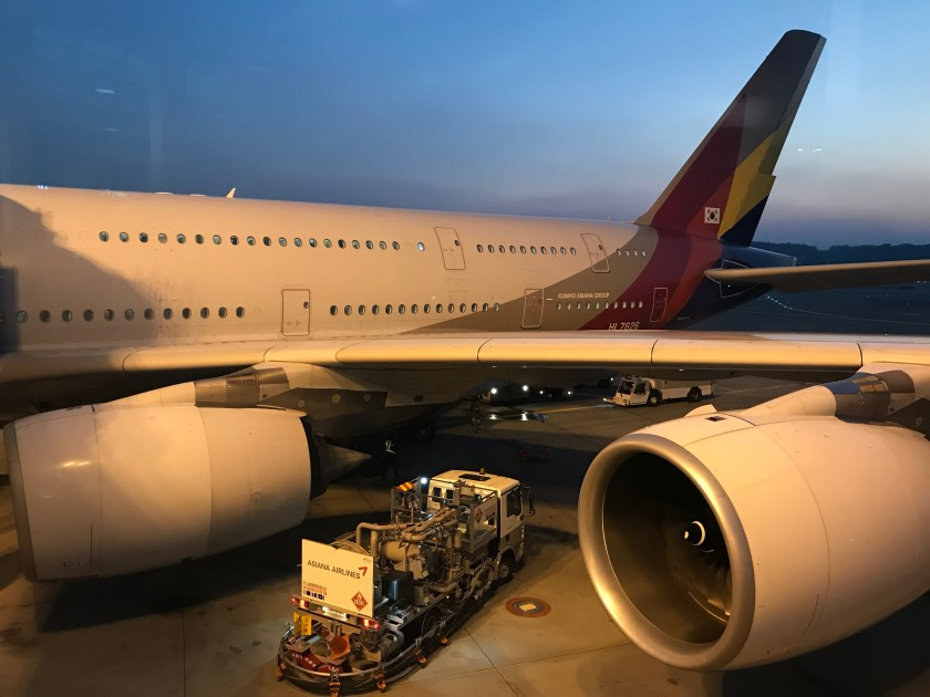 Asiana Airlines A380 Resting After A Long Flight To Seoul