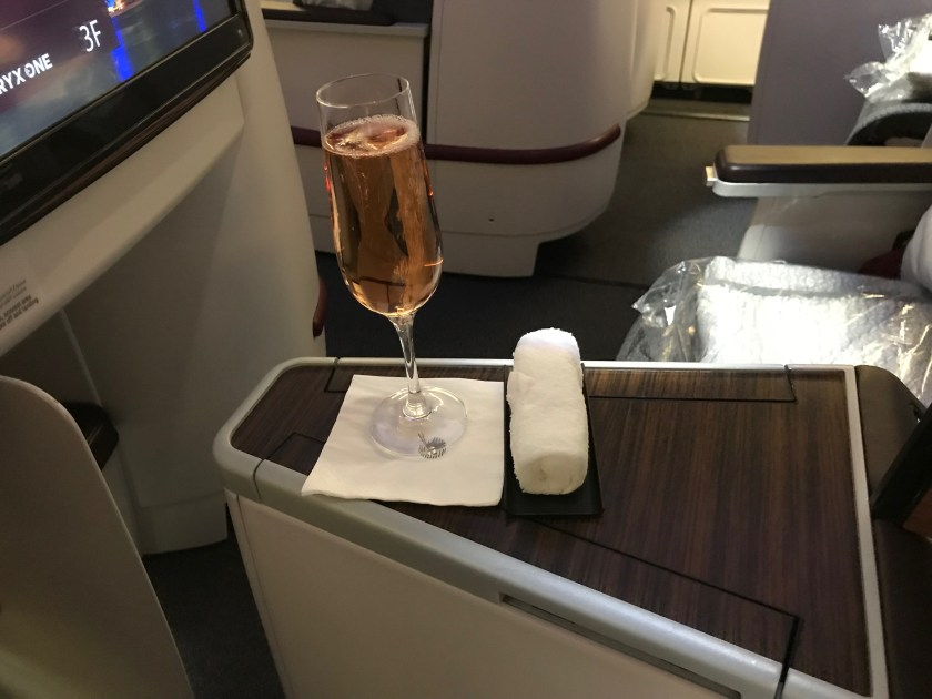 Qatar Airways A330 Business Class Champagne and Hot Towel