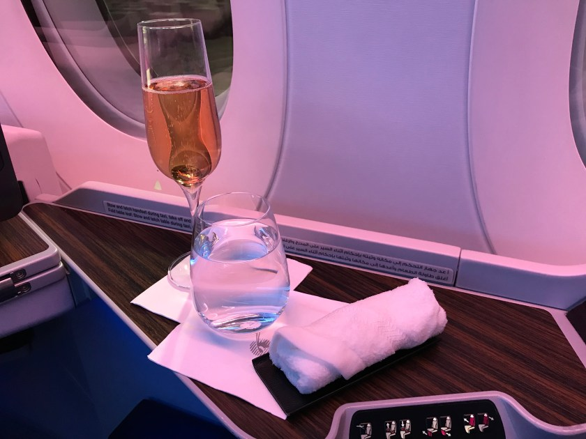 Qatar Airways A350 Business Class Pre-Departure Beverages