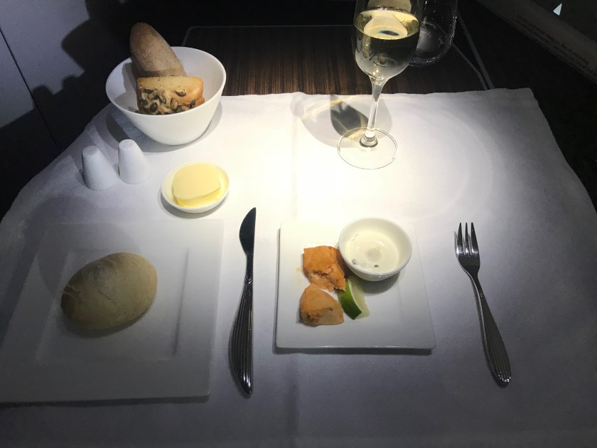 Qatar Airways A350 Business Class Bread and Appetizer